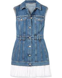 Alexander McQueen | Cotton Poplin-trimmed Denim Mini Dress | Lyst