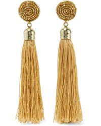 Kenneth Jay Lane - Gold-plated, Tasseled Silk And Bead Earrings - Lyst