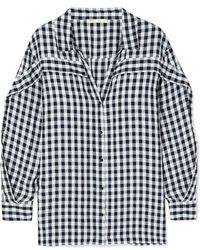 Maje Capri Gingham Ruffle - Trim Shirt