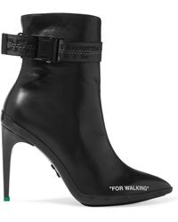 Off-White c/o Virgil Abloh - For Walking Logo-jacquard Printed Leather Ankle Boots - Lyst