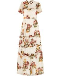 Needle & Thread - Venetian Ruffled Floral-print Fil Coupé Crepon Gown - Lyst