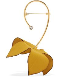 Marni - Gold-tone, Cotton-canvas And Crystal Brooch - Lyst