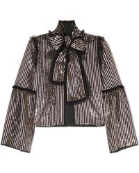 Needle & Thread - Pussy-bow Sequined Georgette Jacket - Lyst