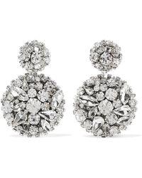 Oscar de la Renta - Silver-tone Swarovski Crystal Clip Earrings - Lyst