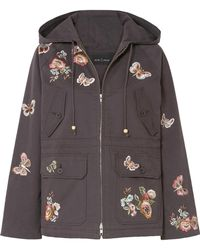 Needle & Thread - Butterfly Rose Hooded Embroidered Cotton-blend Twill Jacket - Lyst