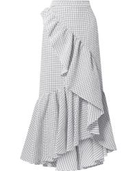 Hellessy - Asymmetric Ruffled Textured-cotton Maxi Skirt - Lyst