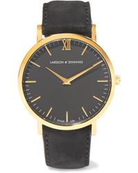 Larsson & Jennings - Lugano Suede And Gold-plated Watch - Lyst
