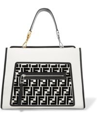 Fendi - Runaway Flocked Leather Tote - Lyst