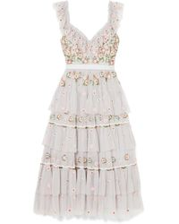 Needle & Thread - Whimsical Tiered Embroidered Tulle Midi Dress - Lyst