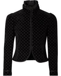 Saint Laurent - Embroidered Silk-trimmed Cotton-blend Velvet Jacket - Lyst
