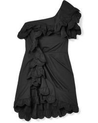 Isabel Marant - Jiska One-shoulder Ruffled Broderie Anglaise Cotton Mini Dress - Lyst