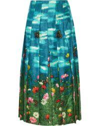 Gucci - Pleated Printed Silk-satin Skirt - Lyst