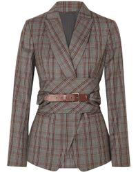 Brunello Cucinelli - Belted Plaid Wool Blazer - Lyst
