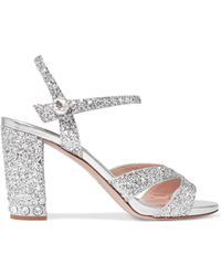 Miu Miu - Crystal-embellished Glittered Leather Sandals - Lyst