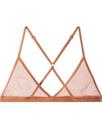 Skin - Stretch Pima Cotton-tulle Soft-cup Triangle Bra - Lyst