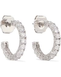 Kenneth Jay Lane - Rhodium-plated Cubic Zirconia Hoop Earrings - Lyst
