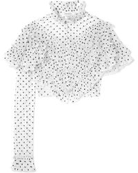 Rodarte - Cropped Ruffled Polka-dot Flocked Tulle Blouse - Lyst