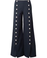 Tory Burch - Carrie Button-embellished Crepe Wide-leg Trousers - Lyst