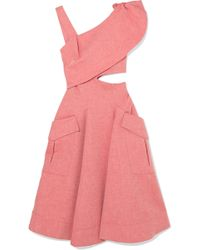 Carven - Asymmetric Cutout Cotton-blend Chambray Midi Dress - Lyst