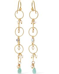 Chan Luu - Gold-plated Amazonite Earrings Gold One Size - Lyst