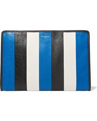 Balenciaga - Bazar Striped Textured-leather Pouch - Lyst