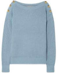 MICHAEL Michael Kors - Embellished Ribbed Cotton-blend Sweater - Lyst