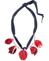 Marni - Gold-plated, Horn, Crystal And Suede Necklace - Lyst