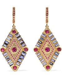Marlo Laz - Shaman's Eye 14-karat Gold, Tanzanite And Garnet Earrings - Lyst
