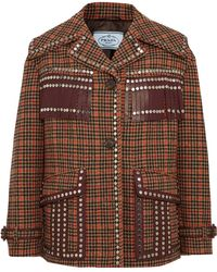 Prada - Leather-trimmed Studded Checked Wool-blend Tweed Jacket - Lyst