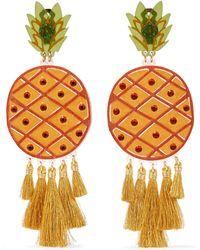 Mercedes Salazar - Fiesta Piñas Tasselled Gold-plated, Resin And Crystal Clip Earrings - Lyst