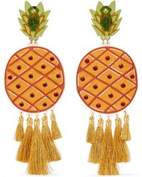 Mercedes Salazar - Fiesta Piñas Tasselled Gold-plated, Resin And Crystal Clip Earrings - Lyst