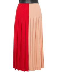 Givenchy - Color-block Pleated Stretch-jersey Midi Skirt - Lyst