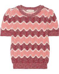 Marc Jacobs - Striped Open-knit Wool-blend Jumper - Lyst