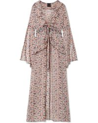Anna Sui - Scattered Flowers Ruffled Floral-print Silk-chiffon Robe - Lyst