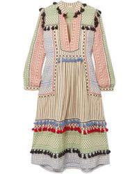 Dodo Bar Or - Tasseled Striped Cotton-gauze Midi Dress - Lyst