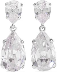 Kenneth Jay Lane - Rhodium-plated Cubic Zirconia Earrings - Lyst