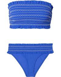 Tory Burch - Costa Smocked Bandeau Bikini - Lyst