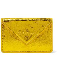 Balenciaga - Paper Mini Printed Metallic Crinkled-leather Wallet - Lyst