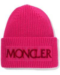 Moncler - Rib Knit Logo Beanie - Lyst