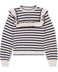 Ulla Johnson - Lourdes Ruffled Striped Cotton And Cashmere-blend Sweater - Lyst