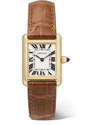 Cartier - Tank Louis 22mm Small 18-karat Gold And Alligator Watch - Lyst