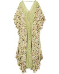 Charo Ruiz - Dalia Crocheted Lace-paneled Floral-print Crepe De Chine Kaftan - Lyst
