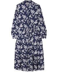 MICHAEL Michael Kors - Ruffled Floral-print Silk-chiffon Midi Dress - Lyst