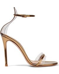 Gianvito Rossi - Portofino 100 Pvc-trimmed Metallic Leather Sandals - Lyst