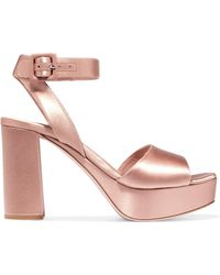 Miu Miu - Satin Platform Sandals - Lyst