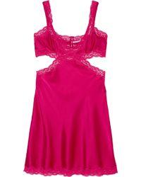 Stella McCartney - Clara Whispering Lace-trimmed Stretch-silk Chemise - Lyst