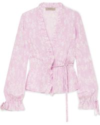 Preen Line | Taia Ruffled Floral-print Crepe Wrap Blouse | Lyst
