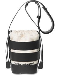 Paco Rabanne - Cage Hobo Mini Leather And Canvas Shoulder Bag - Lyst