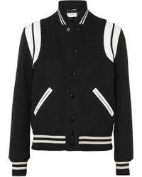 Saint Laurent - Teddy Leather-trimmed Wool-blend Bomber Jacket - Lyst