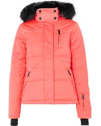 TOPSHOP - Rio Hooded Faux Fur-trimmed Quilted Ski Jacket - Lyst